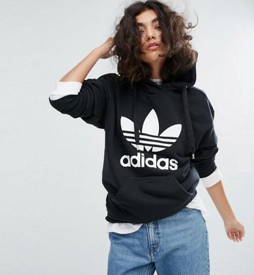 免费直邮中国!adidas 阿迪达斯 Originals 经典三叶草 logo女士连帽卫衣