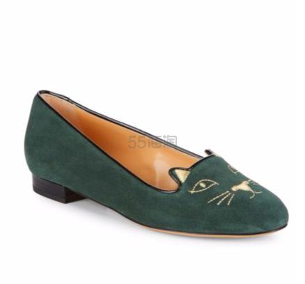 4色选~!Charlotte Olympia Black Velvet Kitty Flats 黑色经典款天鹅绒猫头鞋