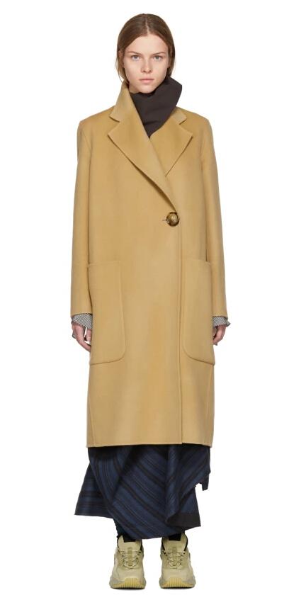 古力娜扎同款 Acne Studios Tan Carice Doublé Coat 羊绒羊毛混纺大衣