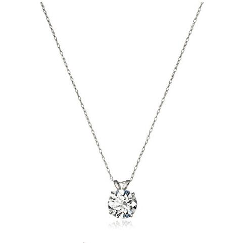【美亚直邮】Amazon Collection 10K白金 施华洛世奇 Zirconia 2克拉水晶项链