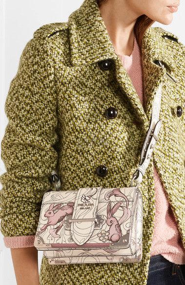 【反向海淘更划算!】Prada 普拉达 Cahier 可爱兔子印花真皮单肩包