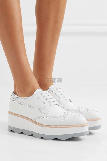 【大码福利】Prada 普拉达 白色真皮厚底布洛克鞋