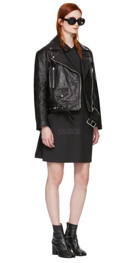 Acne Studios Black Leather Merlyn Jacket 女款黑色机车夹克