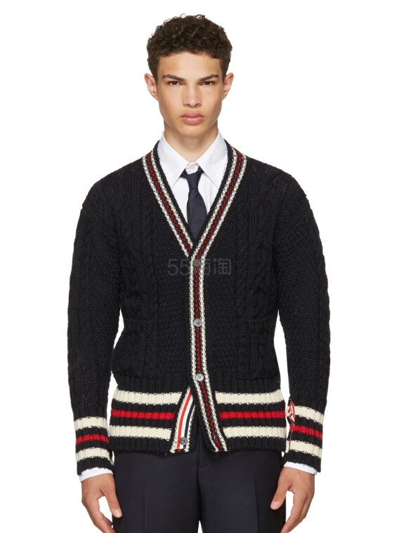 Thom Browne Navy Aran Cable Cricket Stripe Classic V-Neck Cardigan 男款羊毛开衫