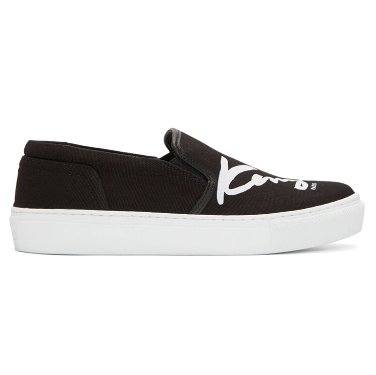 us6码有货~Kenzo Black K-PY Signature Platform Slip-On Sneakers 女款一脚蹬
