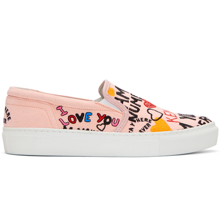 Kenzo  Pink Limited Edition 'I Love You' K-Skate Slip-On Sneakers 刺绣印花一脚蹬