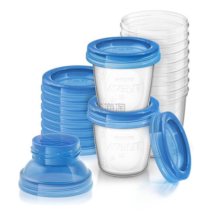 【中亚Prime会员】Philips Avent 飞利浦新安怡 食物母乳储存杯 180ml*10个