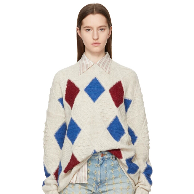 Isabel Marant Etoile Off-White Argyle Gink Sweater 彩色菱形格子毛衣