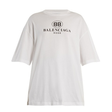 BALENCIAGA Logo-print dropped-shoulder cotton T-shirt 2018款宽松版白色T恤