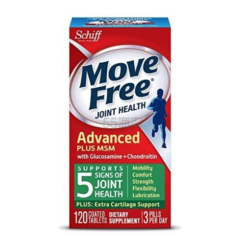 Move Free 维骨力 氨基葡萄糖软骨素加MSM 120粒*2瓶 绿瓶 .99(约193元) - 海淘优惠海淘折扣|55海淘网