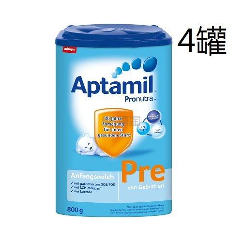 【中亚Prime会员】Aptamil 爱他美 婴儿配方奶粉 Pre段(0-6个月) 800g*4罐