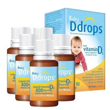 【单瓶到手85元】Ddrops 婴儿维生素D3滴剂 400IU 90滴*5瓶