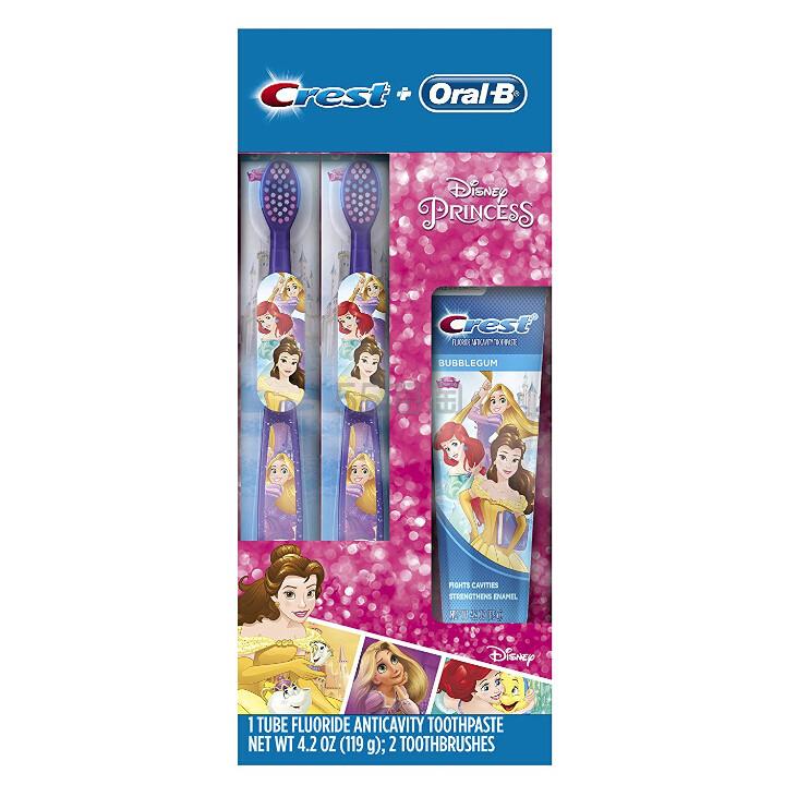 【中亚Prime会员】Oral-B 欧乐B 迪斯尼公主 儿童牙刷2个+牙膏1个套装