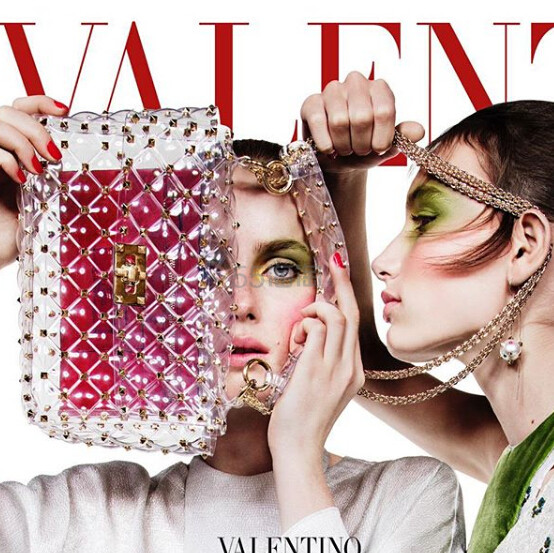 VALENTINO Rockstud Spike medium quilted shoulder bag 透明材质铆钉链条包