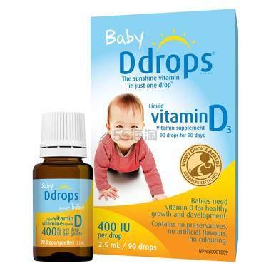 【立减$5+免邮中国】Ddrops 婴儿维生素D3滴剂 400IU 90滴