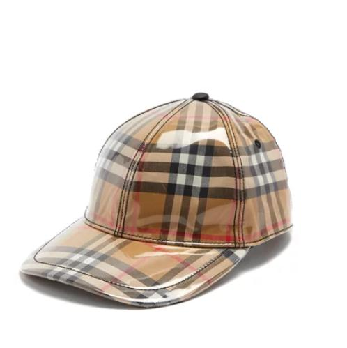 BURBERRY Laminated vintage-check cap 塑料涂层经典格纹棒球帽