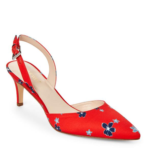 NINE WEST Red Epiphany Floral Print Slingback Pumps 女款高跟鞋