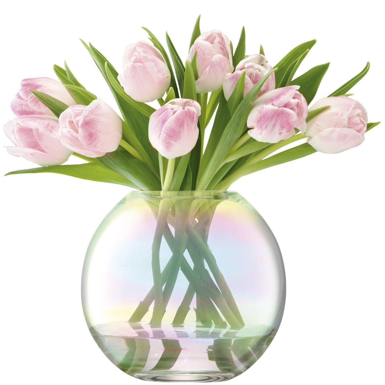 LSA International 玻璃插花花瓶 圆形珍珠母贝颜色 16cm