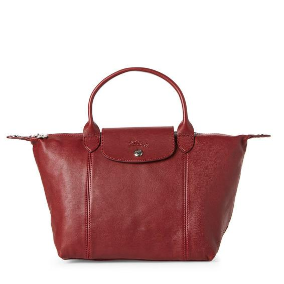 LONGCHAMP Red Le Pliage Cuir Small Satchel 真皮饺子包