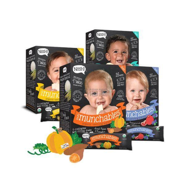 【4件8.5折】Nosh 儿童有机水果磨牙米饼 石榴蓝莓+香蕉芒果+甜薯南瓜+原味 4盒装