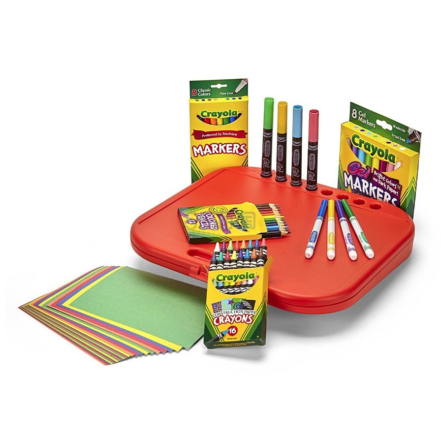 新低价!【中亚Prime会员】Crayola 绘儿乐 便携式绘画工具75件套装