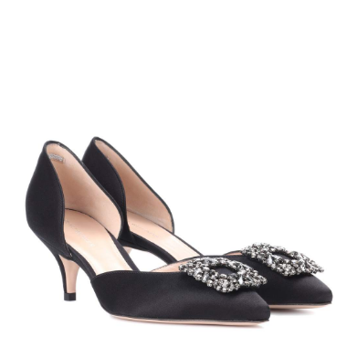 Stuart Weitzman Firedance satin Pumps 方扣鞋