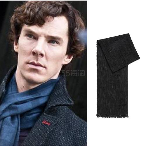 【卷福同款不同色】反季囤!Hugo Boss Stretch Cotton-Linen Blend Scarf 黑色棉绒围巾