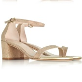 STUART WEITZMAN Simple Gold Glitter 女士高跟凉鞋
