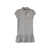 Ralph Lauren Big Pony Stretch Polo Dress 7-16岁 女童 灰色 短袖裙