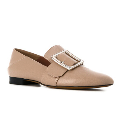 BALLY buckle detail loafers 女款裸色真皮乐福鞋