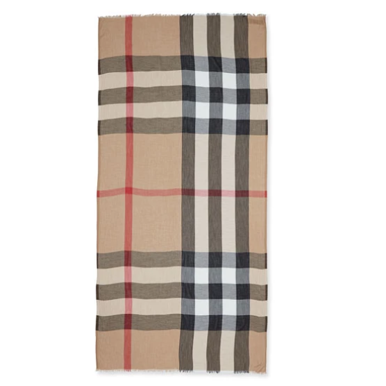 超划算~Burberry Sheer Mega Check Scarf 巴宝莉 围巾