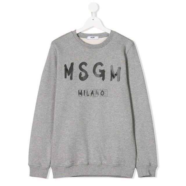 妹纸可穿~MSGM KIDS TEEN logo print 大童款灰色卫衣 ¥630 - 海淘优惠海淘折扣|55海淘网