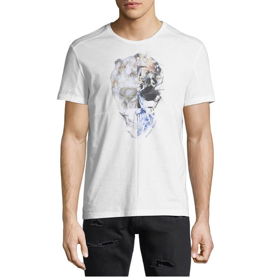 Alexander McQueen Floral Skull Graphic T-Shirt 麦昆 白色 男士 短袖