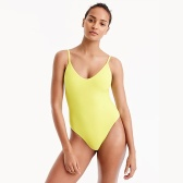J.CREW Ruched back one-piece swimsuit 黄色 连体 泳衣