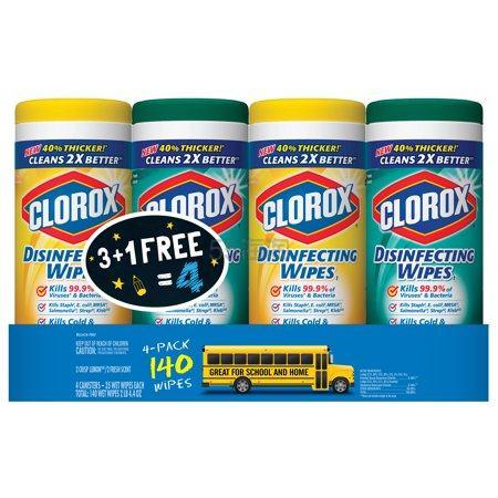 Clorox 高乐氏 消毒抗菌+微型刷湿巾套装 4瓶装 140片 .48(约45元) - 海淘优惠海淘折扣 55海淘网