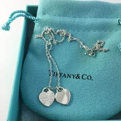 好价继续!【中亚Prime会员】Tiffany&Co 蒂芙尼 银饰迷你双心吊坠项链 22309307
