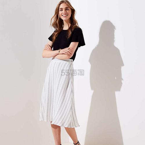 初秋必备单品!Loft 灰色条纹简约款半身裙 .99(约240元) - 海淘优惠海淘折扣|55海淘网