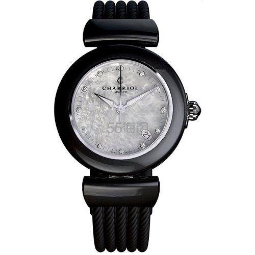 【每日特惠】Charriol 夏利豪 AEL 系列 黑色圆形表盘女士时尚腕表 AE33CB.173.003 0(约1,734元) - 海淘优惠海淘折扣|55海淘网