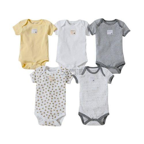 伯特小蜜蜂旗下童装品牌!Burts Bees Baby 有机棉宝宝连体衣 0-12个月 5件 (约118元) - 海淘优惠海淘折扣 55海淘网