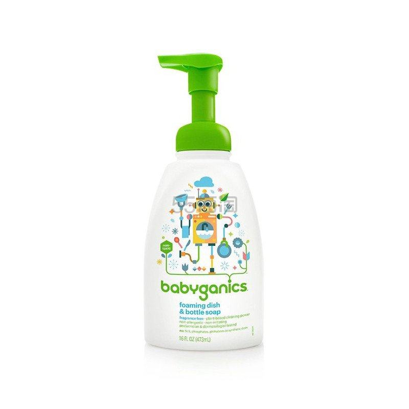 【新人专享】BabyGanics 甘尼克宝贝 婴儿餐具奶瓶发泡清洁剂 473ml ¥39 - 海淘优惠海淘折扣|55海淘网