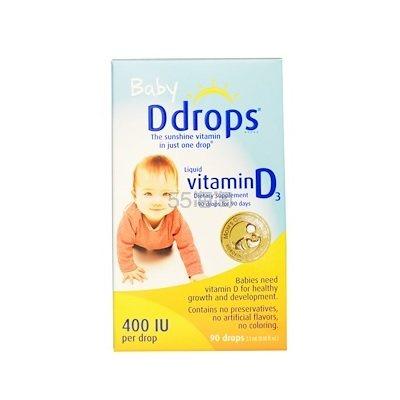 【4件0税免邮】Ddrops 婴儿液体维生素D3滴剂 400IU 2.5ml .03(约105元) - 海淘优惠海淘折扣|55海淘网