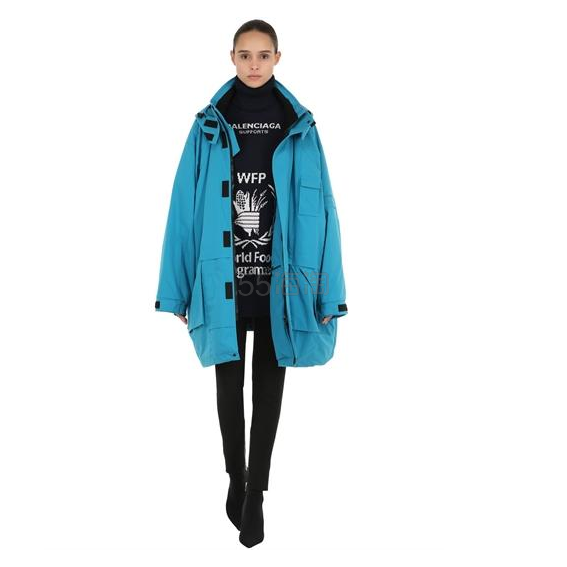 BALENCIAGA OVERSIZED 巴黎世家水蓝色派克大衣 ,649.2(约11,345元) - 海淘优惠海淘折扣|55海淘网