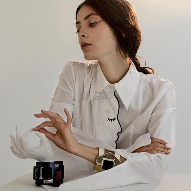 6折!Vivetta 抽象艺术人脸线条白衬衫 £225(约1,957元) - 海淘优惠海淘折扣|55海淘网