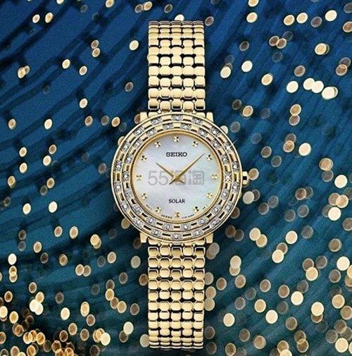 新低价!Seiko 精工 Tressia 系列 金色珍珠母贝镶钻女士优雅腕表 SUP374 9.99(约1,308元) - 海淘优惠海淘折扣|55海淘网