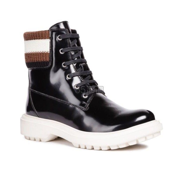 【中亚Prime会员】Geox 健乐士 D Asheely B Biker 高帮保暖系带漆皮短靴踝靴 到手价386元 - 海淘优惠海淘折扣|55海淘网