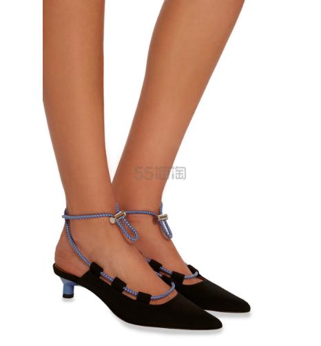 Ganni 18年早春 Agnes 绒面露跟单鞋