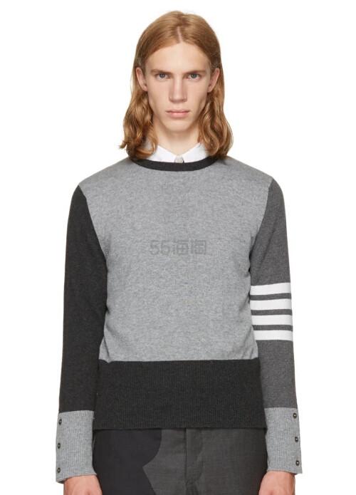 Thom Browne Grey Classic Four Bar Funmix Crewneck Sweater 男款羊绒拼接毛衣