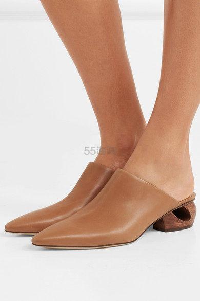 没有折扣也被抢的 THE ROW Haya 皮革穆勒鞋