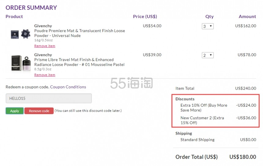 凑单享7.5折!Givenchy 纪梵希四宫格无痕散粉 透明色 .5(约259元) - 海淘优惠海淘折扣|55海淘网