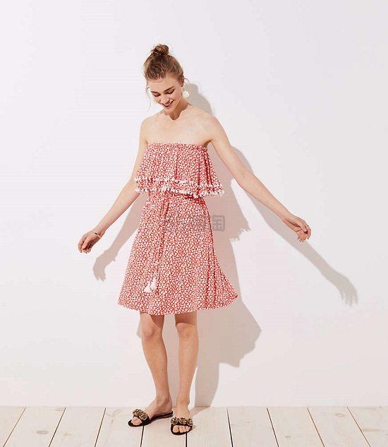 夏日必备!LOFT 红色碎花抹胸连衣裙 .5(约305元) - 海淘优惠海淘折扣|55海淘网